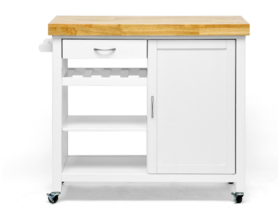 Denver Kitchen Cart with Butcher Block Top White
