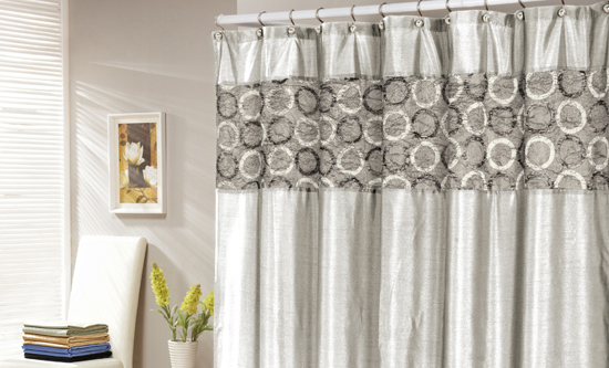 Faux Silk Shower Curtain In Mocha With Leaves