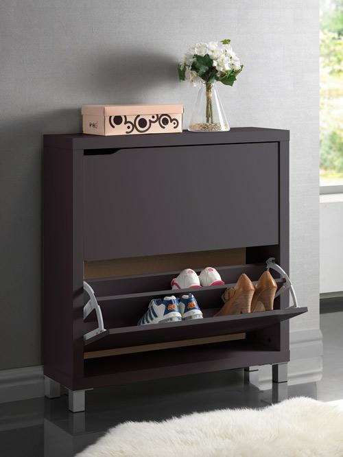 Marsha Modern Dark Brown Double Shoe Cabinet