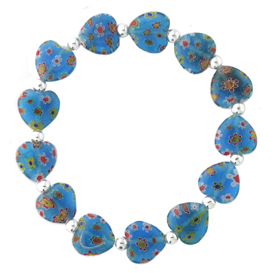 Sterling Silver Multi-Blues Millifiori Murano Glass Oval & Bead Stretch Bracelet 7.5 epUImj4vU