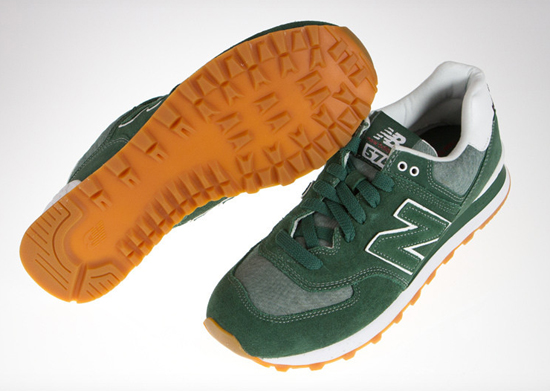 new balance 574 green suede shoes