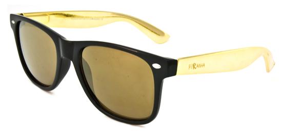 Golden Frame Black Sunglasses : Piranha Unisex Wayfarer Sunglasses