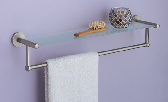 neu home glass or chrome bath shelves