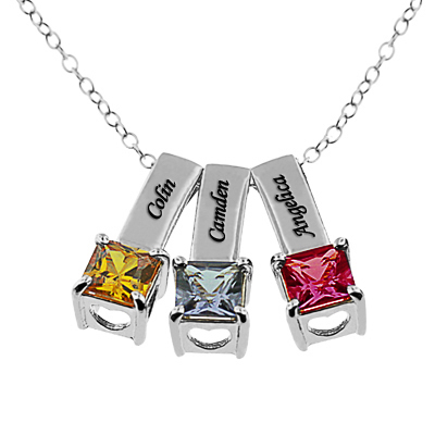 silver wid birthstone circle sterling family product necklace