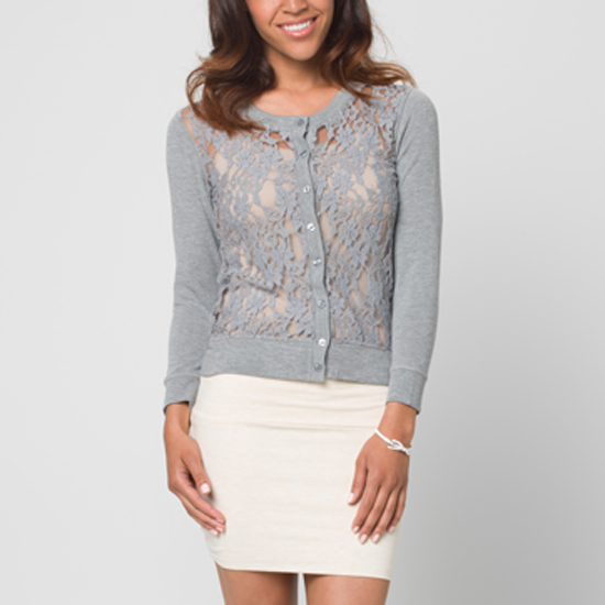 Poof! Apparel Crochet Lace Sweater-Knit Cardigan