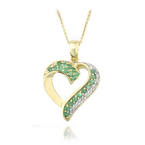 Precious gemstone pendant necklaces 18k gold over silver 18ct diam emerald heart necklace ypd3312 e 13 18 aloadofball Images
