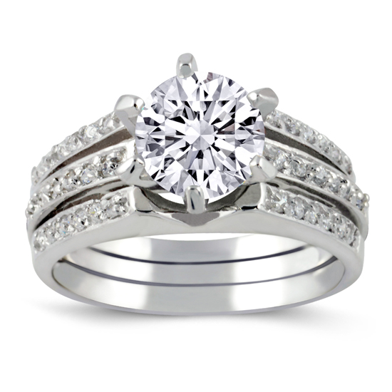 Silver Wedding Ring Sterling Silver 3 Piece Simulated Diamond Engagement Ring Set