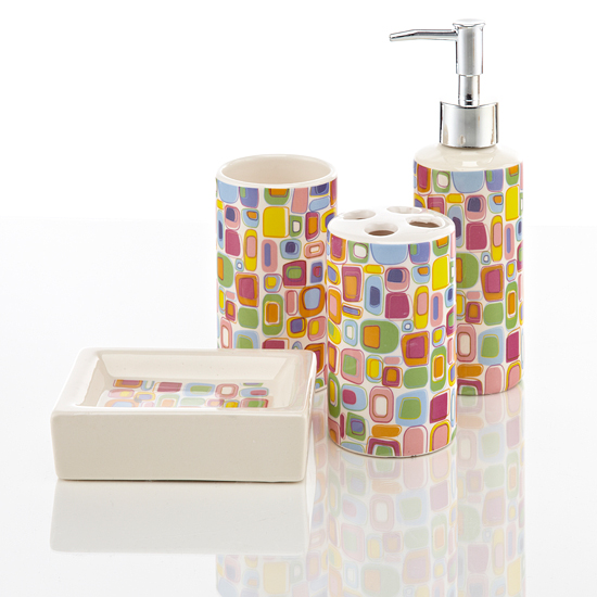 Royal club ceramic bath accessories set for Coloured bathroom accessories set