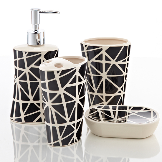 Royal club ceramic bath accessories set for Black and white bath accessories