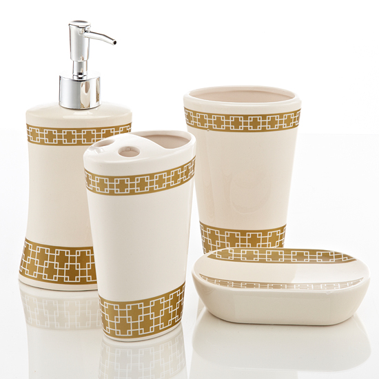 Royal club ceramic bath accessories set for Gold bathroom accessories sets