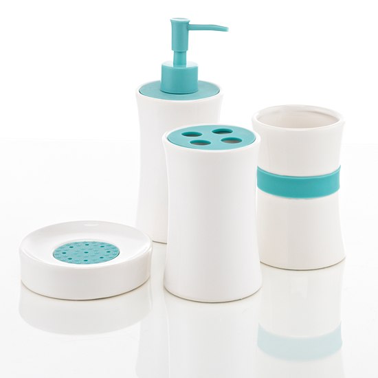 Royal club ceramic bath accessories set for Teal bathroom accessories sets