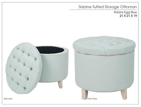 Sabine Tufted Storage Ottoman in Aqua - Safavieh Home Furnishings