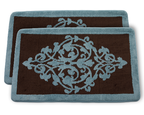 Set of two memory foam bathmats for Blue and brown bathroom sets