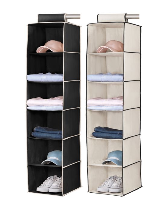 2 Pack Black U0026 Cream 6 Shelf Hanging Closet Organizer