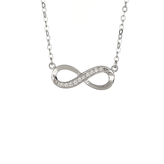 infinity necklace white gold. 18 kt white gold plated sterling created diamond accent infinity necklace n