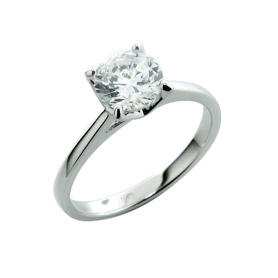 Silver Wedding Ring Sterling Silver Solitaire Simulated Diamond Engagement Rings Round