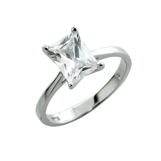 Sterling Silver Solitaire Simulated Diamond Engagement Rings: Emerald Cut