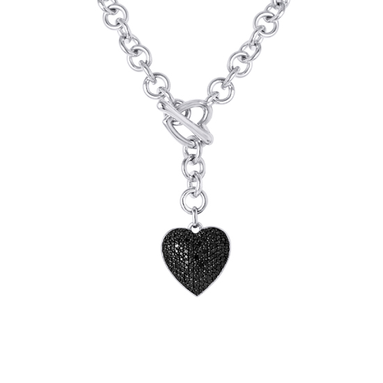 Black and white diamond jewelry with sterling silver 6999 for a 925 sterling silver black diamond heart charm toggle necklace na1949slb00 24395 list price aloadofball Image collections