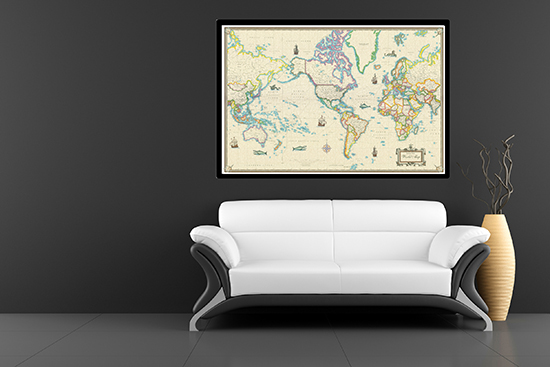 Canvas gicle wall maps framed modern day gumiabroncs Choice Image