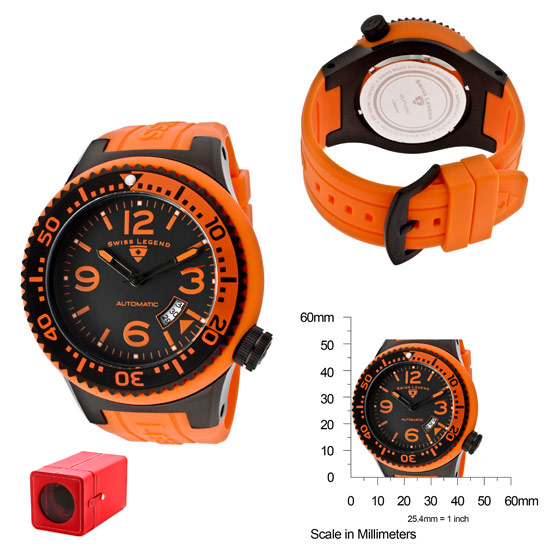 swiss legend men s neptune watches swiss legend men s neptune automatic watch orange silicone band black dial sl 11819a bb 01 obs w