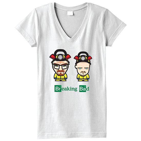 d60f17cb7 Breaking Bad Walt and Jesse Cartoon Character Jr. Short-Sleeve V-Neck T- Shirt in White