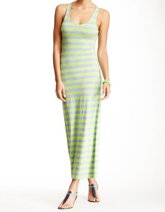 Green Striped Tank Maxi Dress