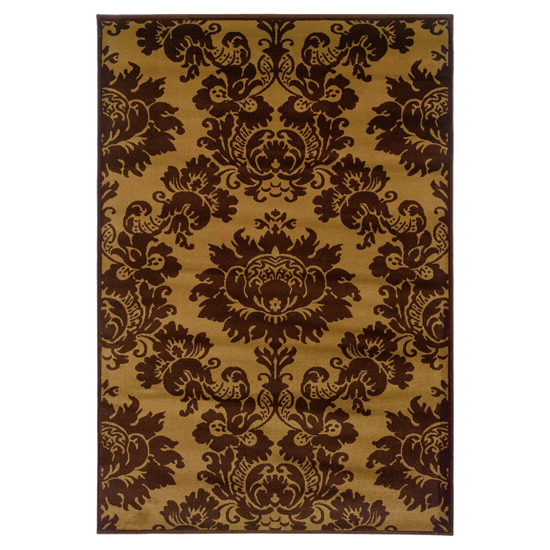 tradition area rug in yellow brown