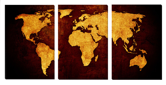 Gallery wrapped triptych world maps tan on dark brown gumiabroncs Choice Image