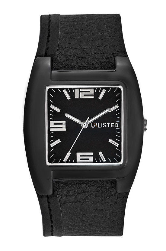 men s unlisted by kenneth cole watches unlisted by kenneth cole men s watch black pu synthetic leather band black dial ul5126