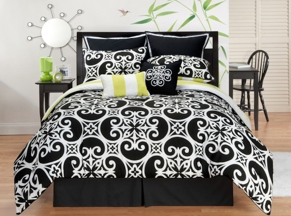 Kennedy eight piece comforter set king for Black white yellow bedroom