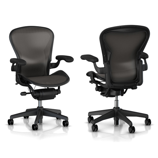 Aeron basic chair with carbon fabric pellicle and graphite base