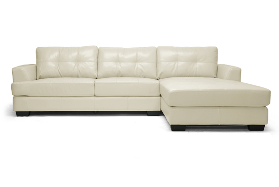 Dobson Modern Sectional Sofa In Cream Leather