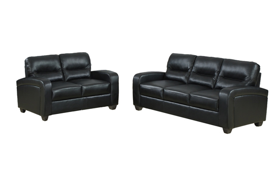 Gentil $799.99 For A Two Piece Leather Modern Sofa/Loveseat Set In Duncan Black  ($1,252 List Price)