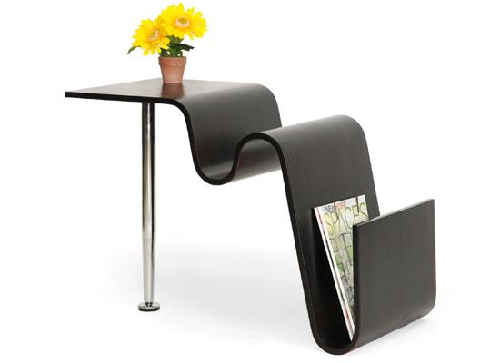 Griffin Dark Brown Modern Coffee Table/Magazine Holder