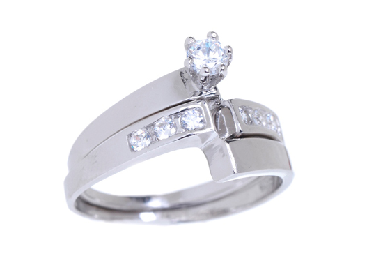 Kt White Gold Plated Swirl Cz Ring