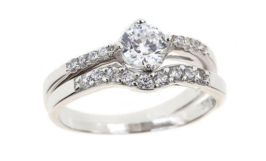 created diamond engagement rings w curved cz wedding band cr467t