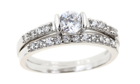 18K White GoldPlated CZ Wedding Sets