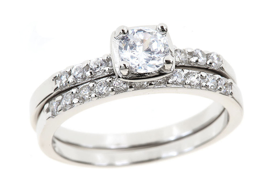 fancy round cut cz ring in square setting w wedding band cr459t