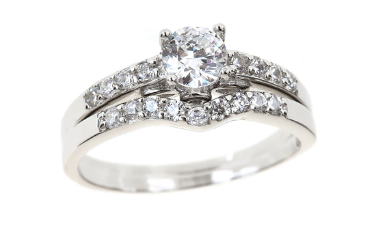 round cut engagement ring w custom curved cz wedding band cr469t