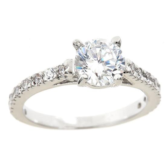18 karat white gold plated cubic zirconia engagement rings