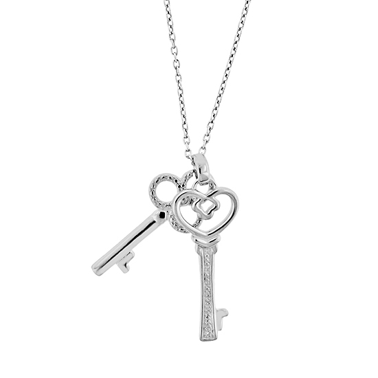 Diamond heart or key pendant necklaces 2999 for sterling silver diamond double key necklace with 20 chain 2ssrns91d20 172 list price mozeypictures Images