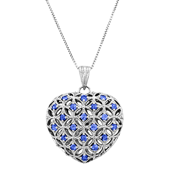 Sterling silver heart pendants 29 for sterling silver 1 carat created sapphire filigree heart pendant p2915sscrsap 7999 list price mozeypictures Image collections