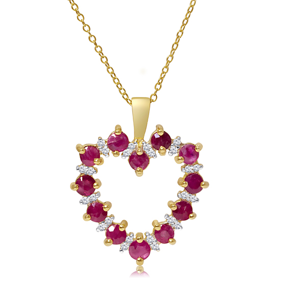 Sterling silver heart pendants 45 for gold over silver 18 carat genuine ruby and 12 carat diamond pendant p3420yssru 200 list price aloadofball Gallery