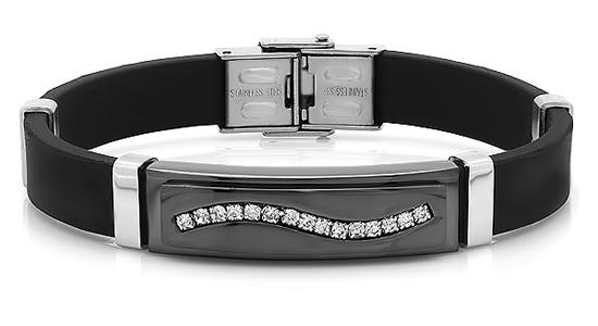 Men S Stainless Steel Rubber Bracelets
