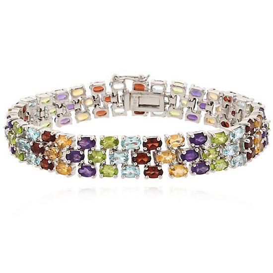three row gemstone tennis bracelets