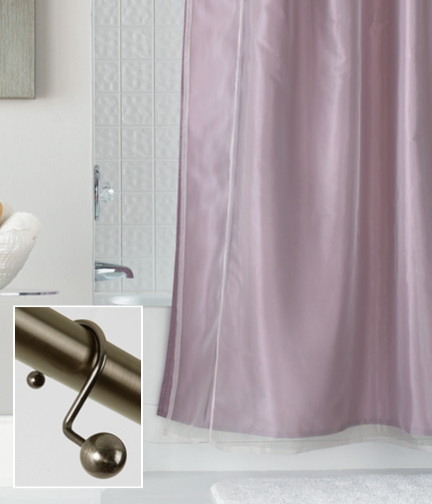 Double Layer Fabric Curtain In Rose Organza And Taffeta With Brass Ball Hooks