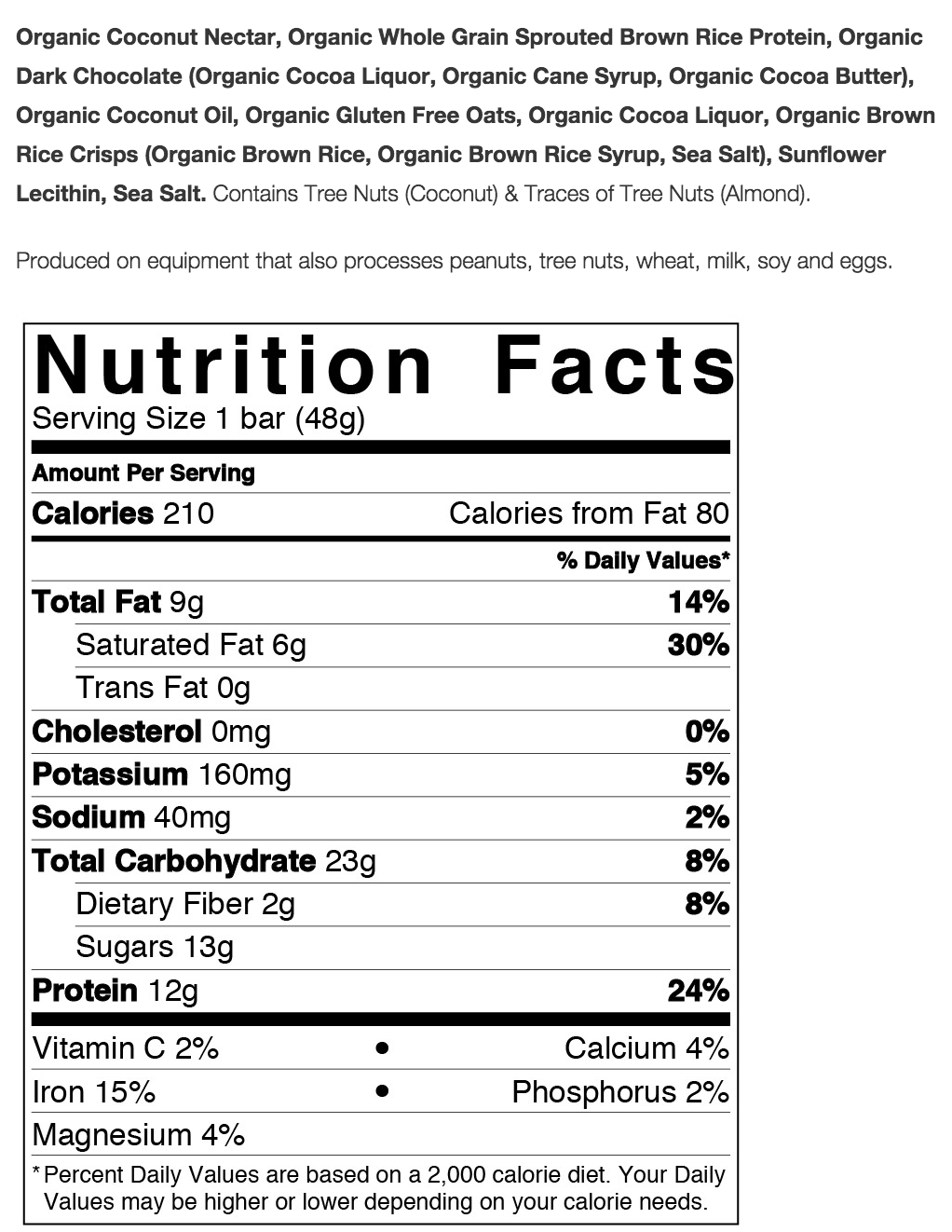 Squarebar Organic Protein Bars Nutrition Facts
