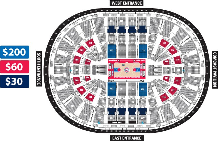 Palace Of Auburn Hills Seating Chart With Seat Numbers