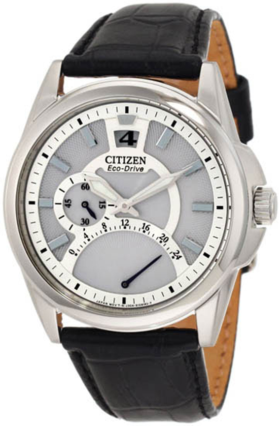 145.99 for Citizen Men s Eco-Drive Watch  Black Leather Strap Band White  Dial Silver Bezel ( 275 List Price) 05abba3014