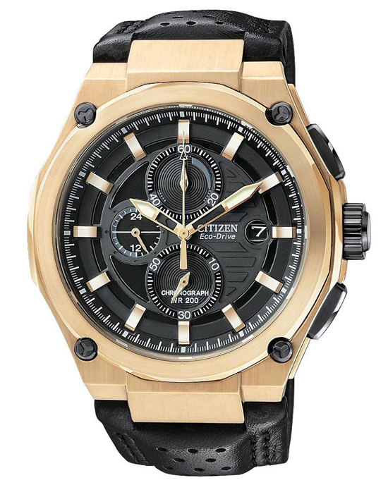 249.99 for Citizen Men s Eco-Drive Sport Chronograph Watch  Black Leather  Strap Band Charcoal Black Dial Rose Gold Tone Bezel ( 450 List Price) f0fb32c5f4